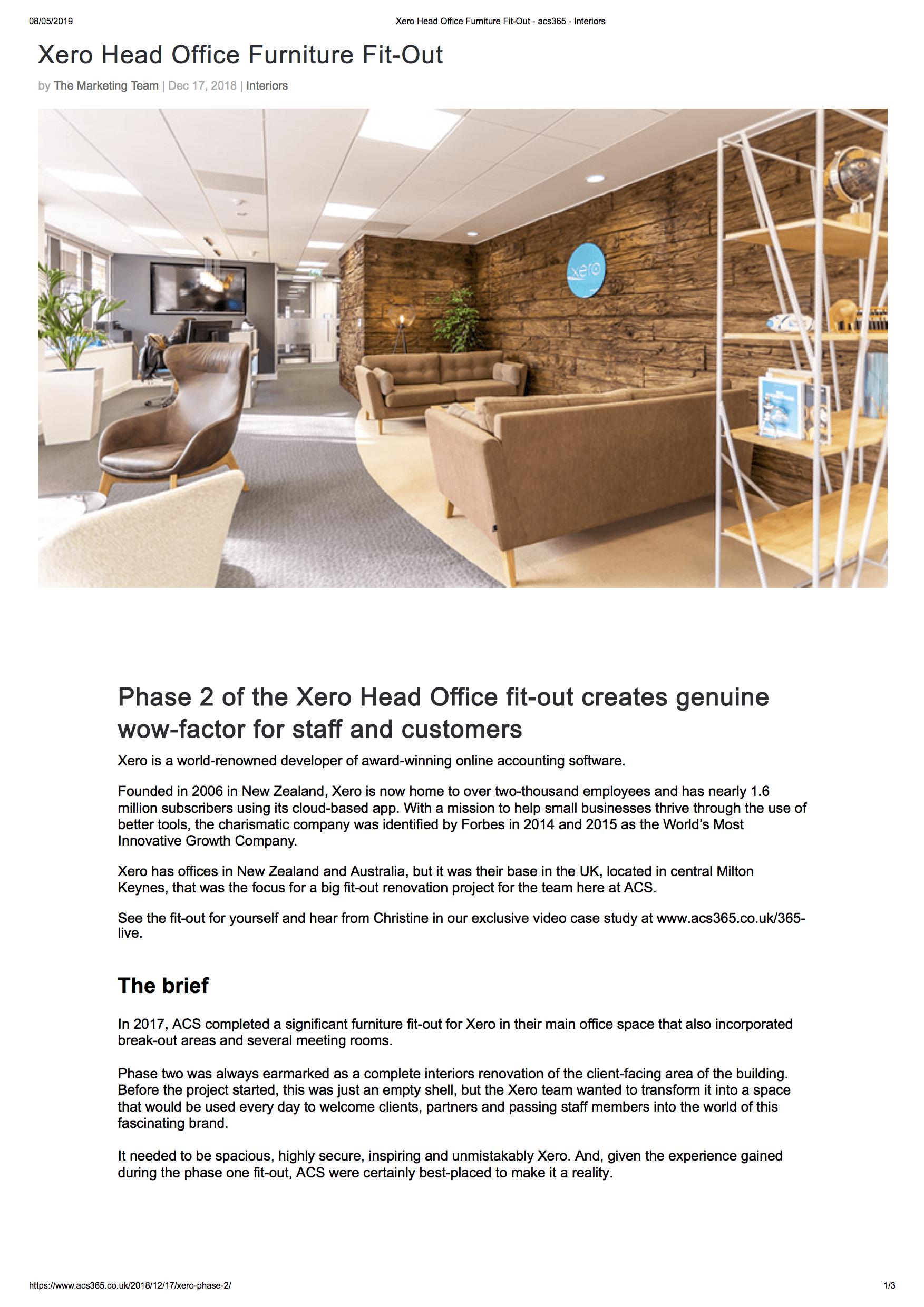 Acs Interiors Xero Head Office Case Study Cfas